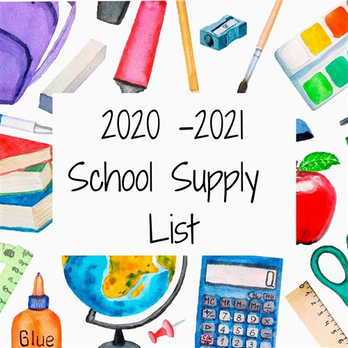 School Supply List 2020