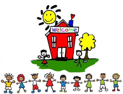 School Building Children and Teachers