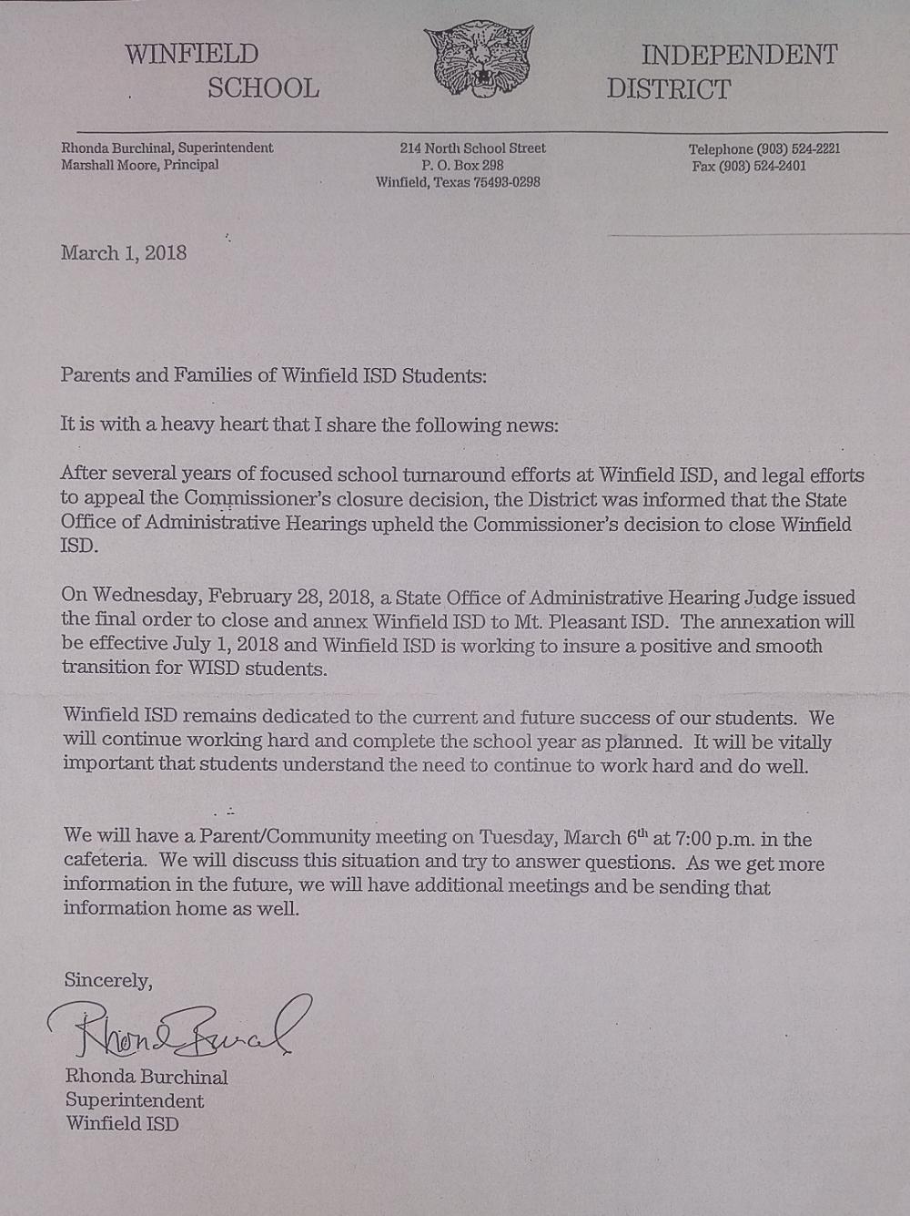 School Notice - English