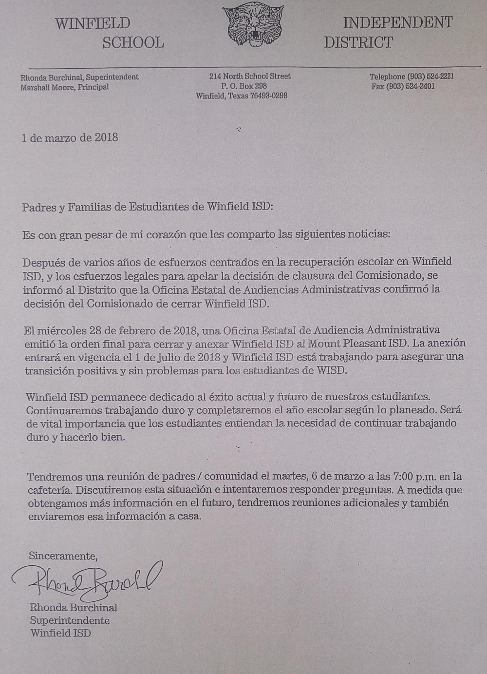 School Notice - Spanish