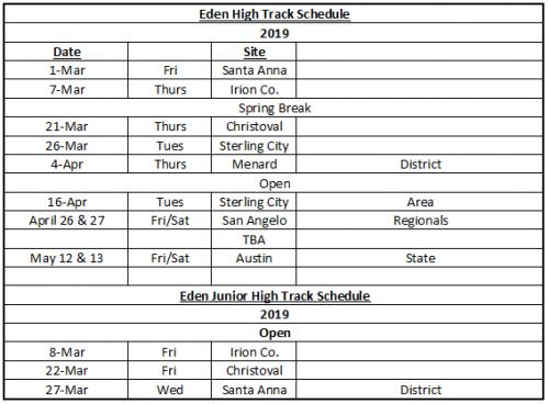 HS Track Schedule