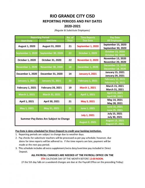 2020-2021 PAY SCHEDULE
