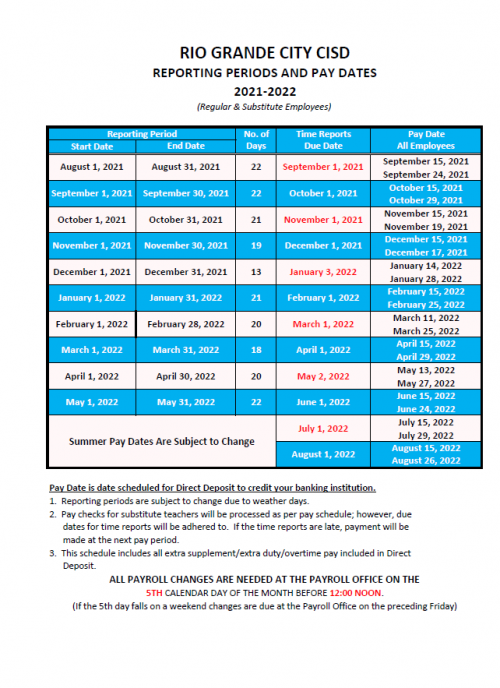 2021-2022 PAY SCHEDULE
