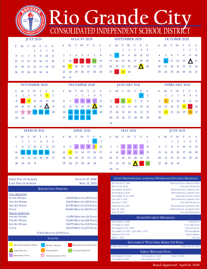 rgccisd calendar