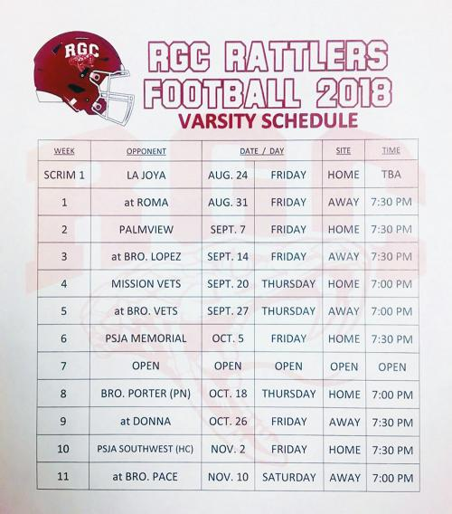 Rio Rattlers Football Schedule