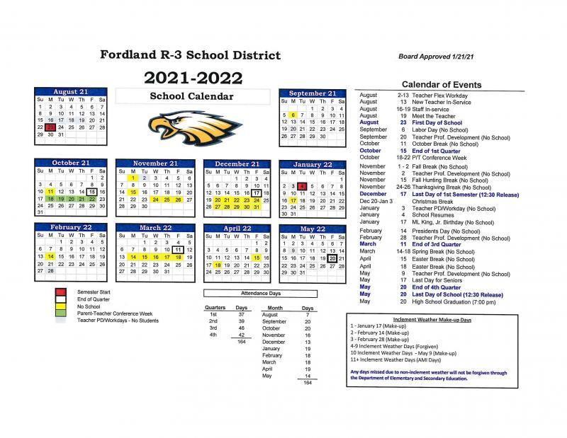 2021/22 School Calendar