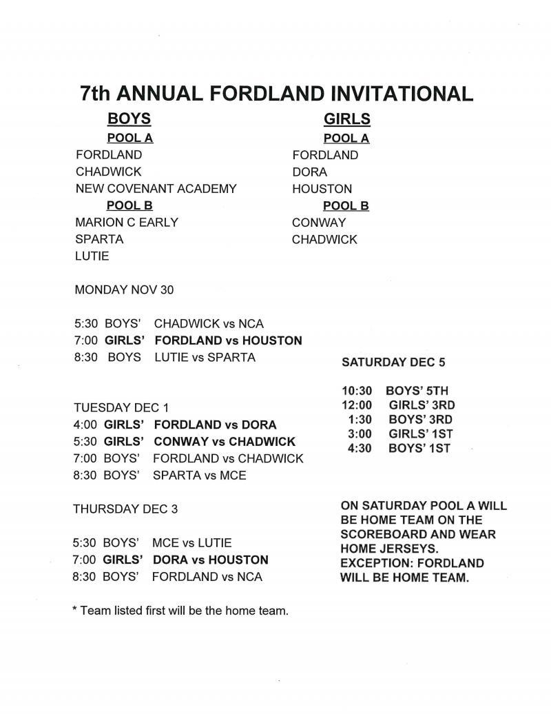 7th Annual Fordland Boys and Girls Invitational Basketball Tournament
