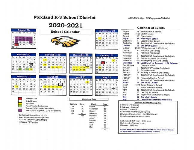 2020/21 District Calendar