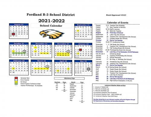 2021/22 District Calendar