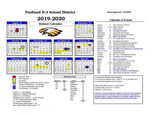 Fordland R-III School District 2019-20 School Year Calendar