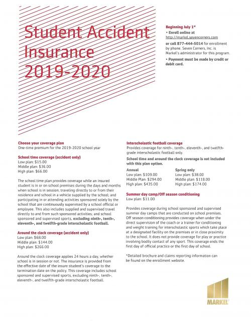 Markel Student Accident Insurance