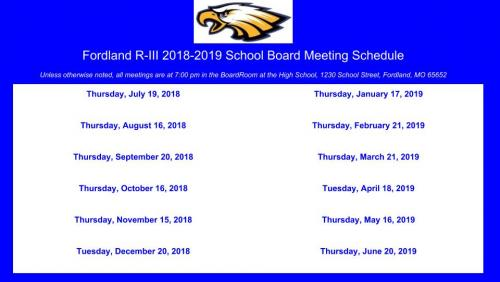 2018/19 Board Meeting Schedule