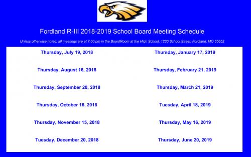 2018/19 Board Meeting Schedule