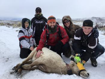 6th and 8th Graders With a Captured Bighorn Sheep