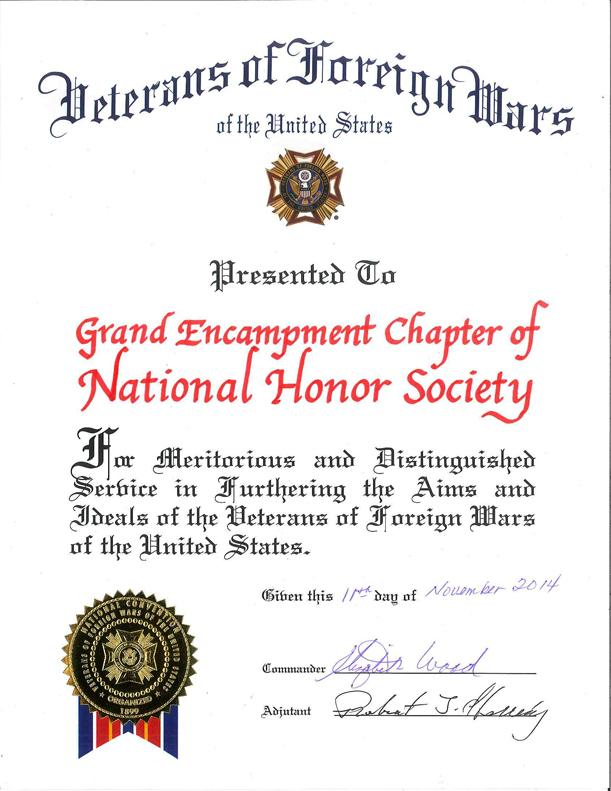 Veterans of Foreign Wars Recognizes National Honor Society November 11, 2014