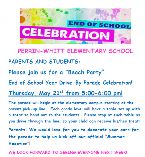 Elementary End of Year Celebration May 21, 5-6PM