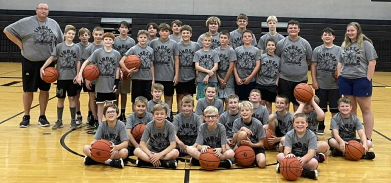 group picture of the boys basketball camp