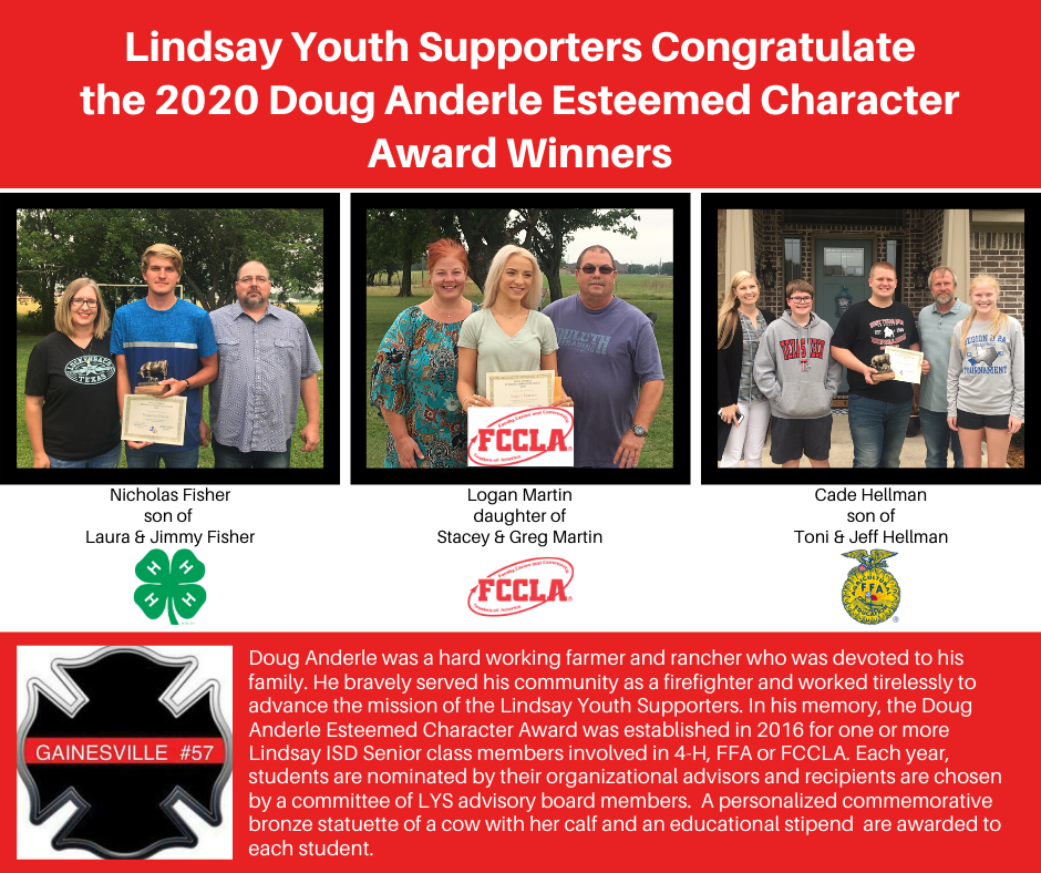 character award winners from the Lindsay Youth Supporters