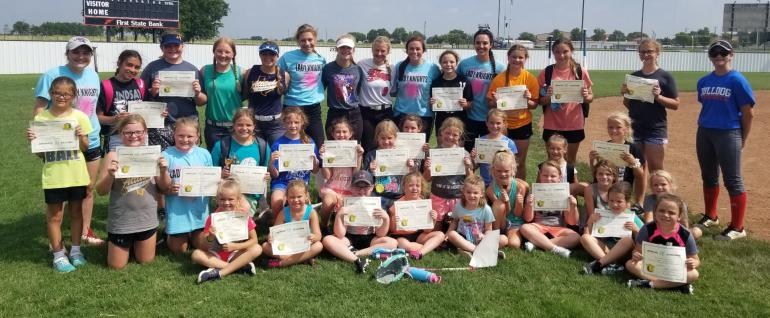 group picture of girls after softball camp