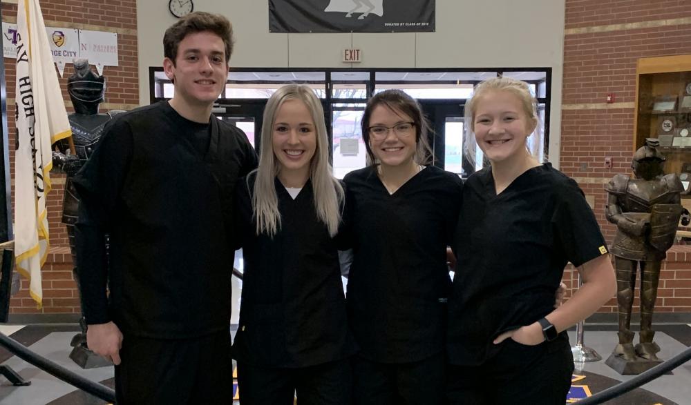 high school job shadowing students group photo