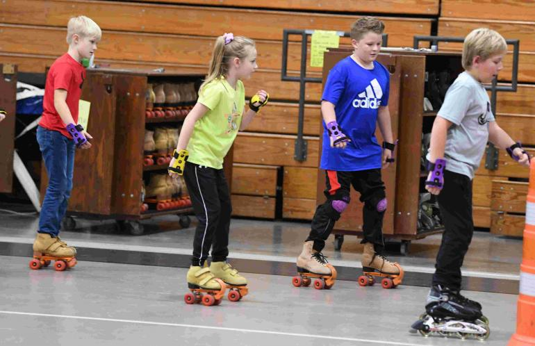Fourth graders skating