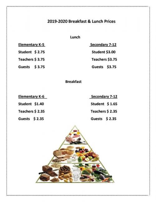 meal prices 19-20