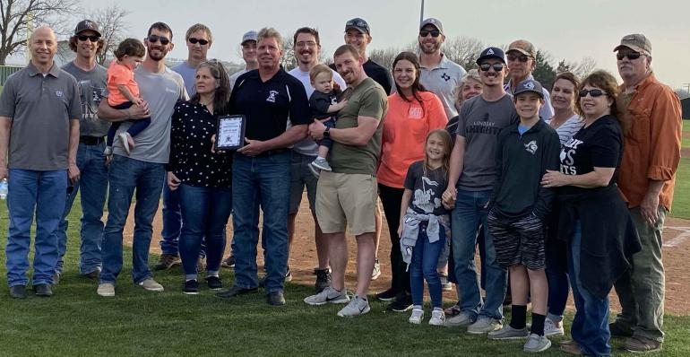 Tic Block and his family at the Hometown Heroes induction.