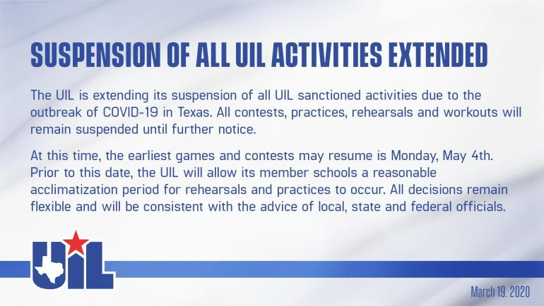 UIL graphic about suspending all activities