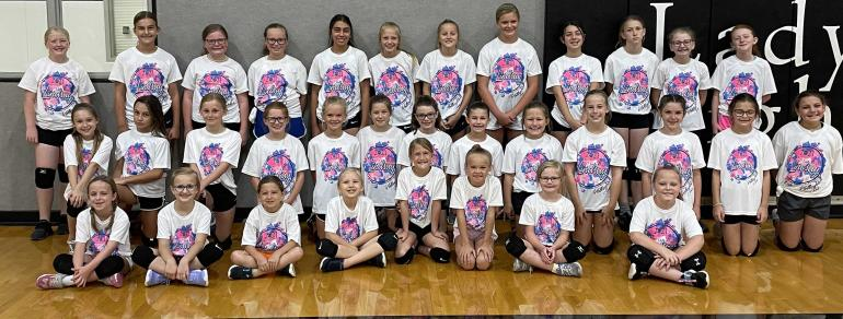 Volleyball camp, younger kids group picture.