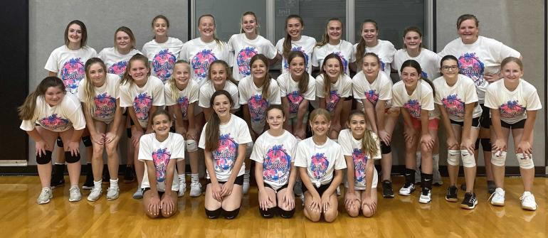 Volleyball camp, older kids group picture.