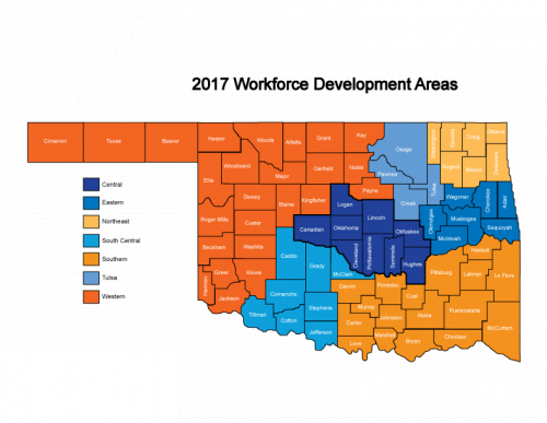 Oklahoma Map of 2017 Workforce Development Areas