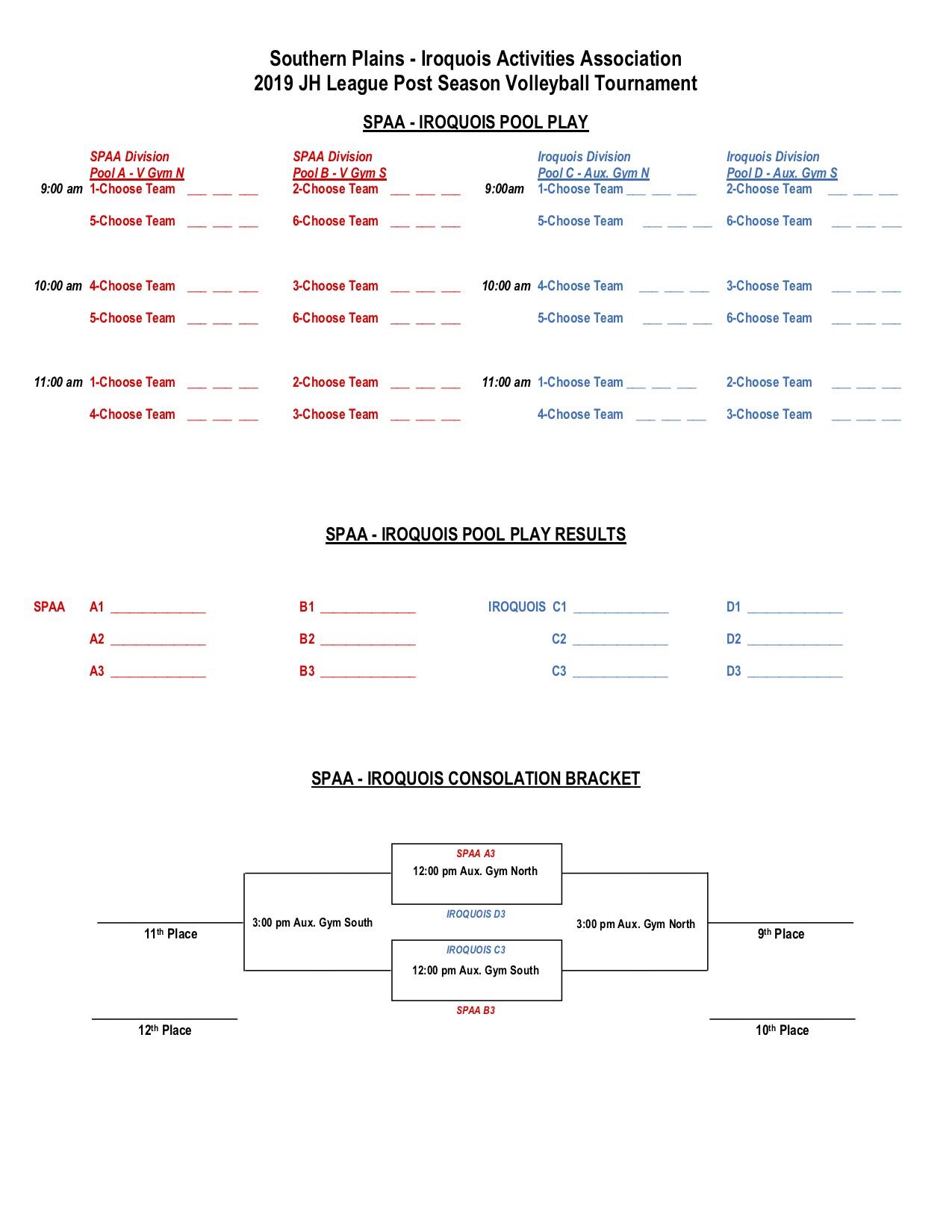 JH SPIAA VB Tournament Bracket