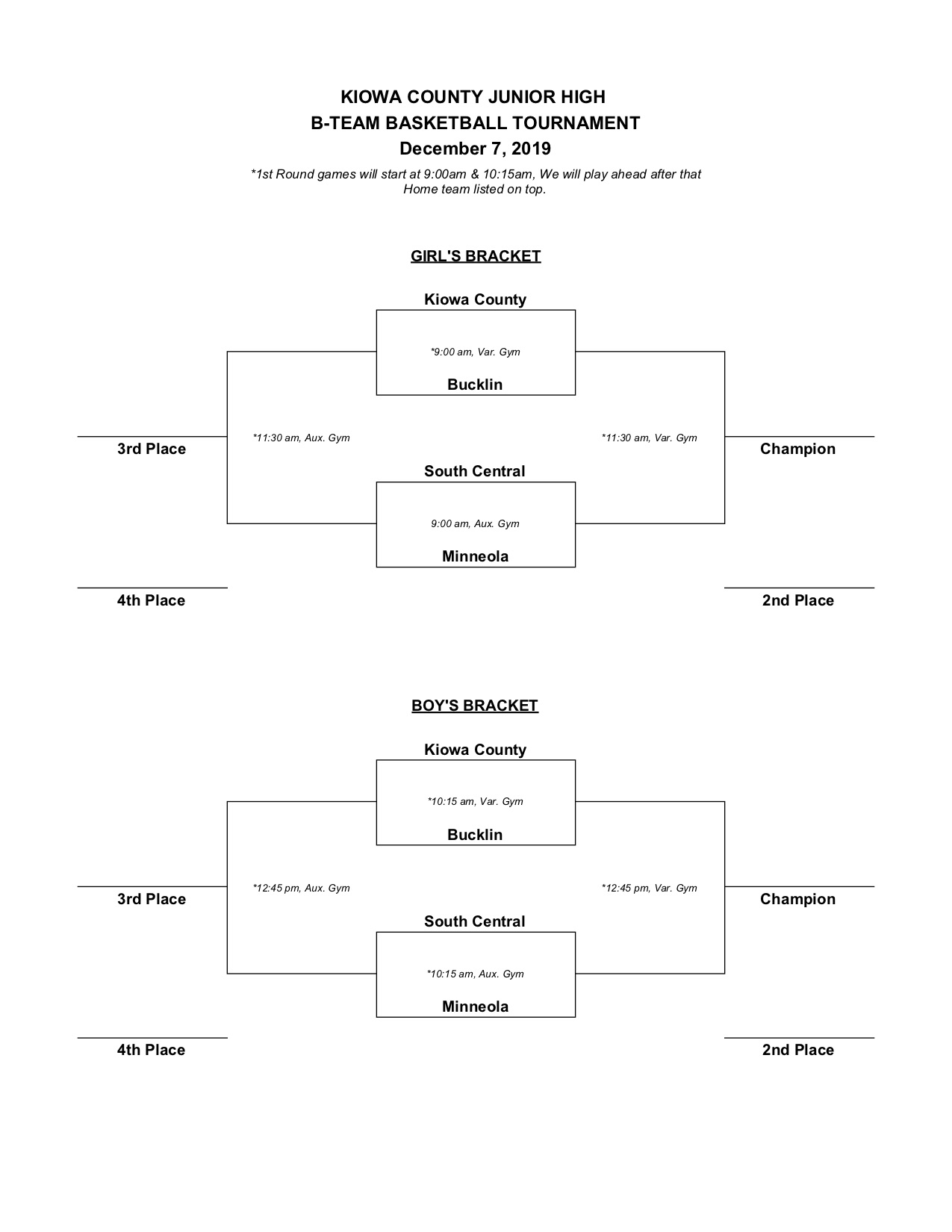 Kiowa Co JH B-Team Tournament Bracket for 12-7-19
