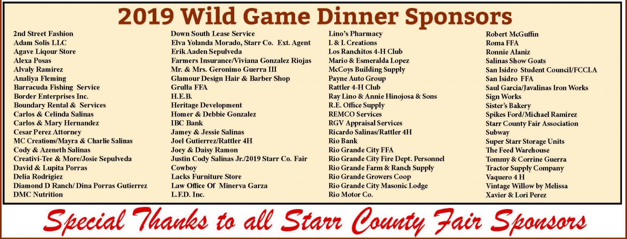 2019 Wild Game Dinner Sponsors