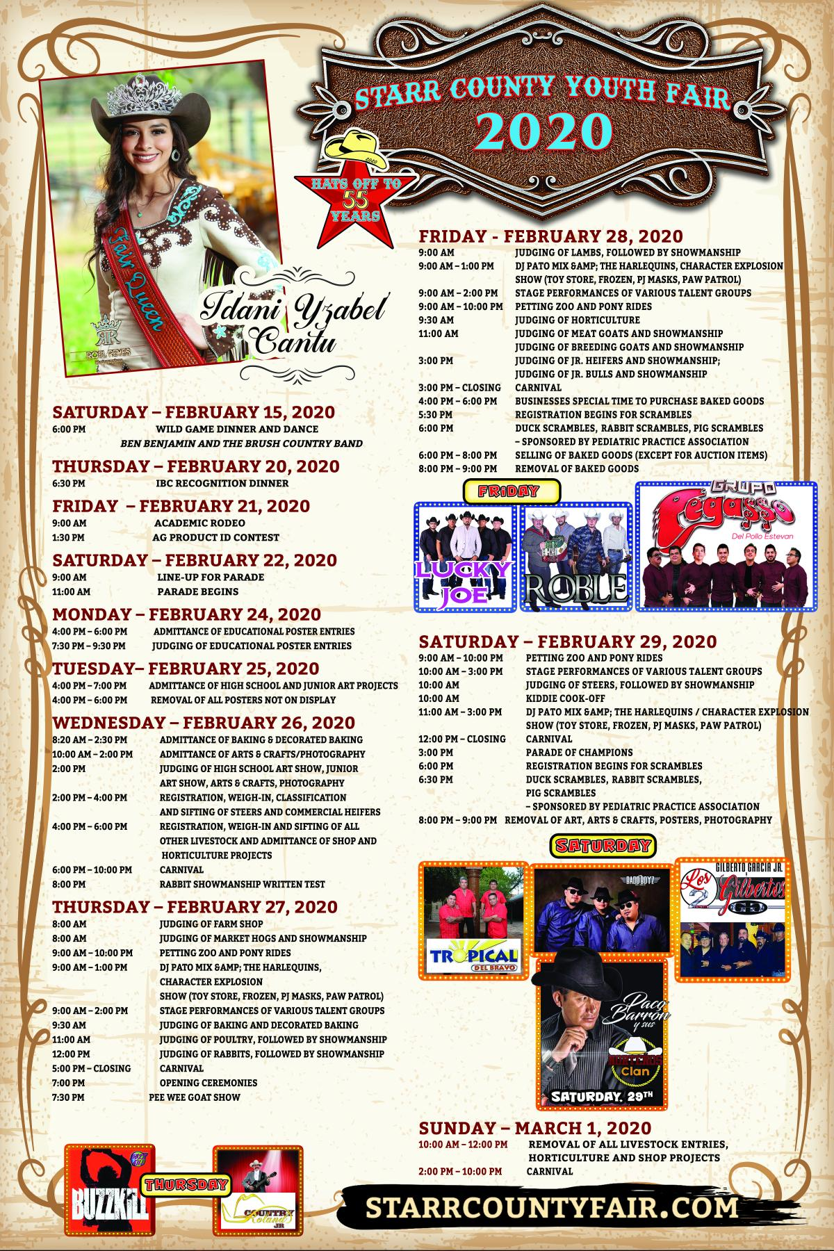 2-19-20 Schedule of Events
