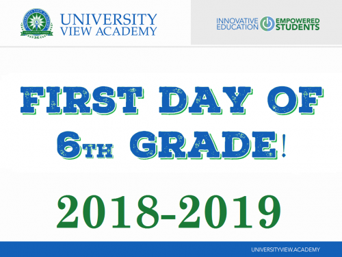 first day of 6th grade 2018-2019 sign