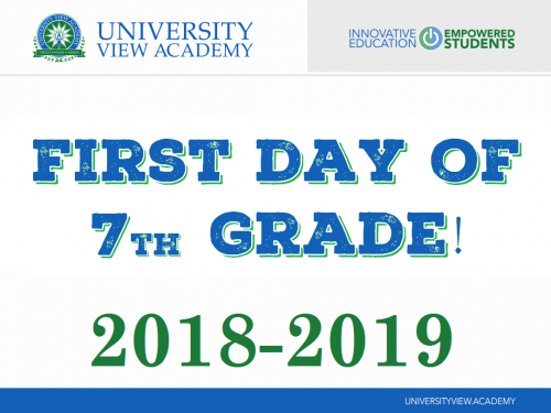 first day of 7th grade 2018-2019 sign