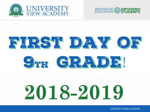 first day of 9th grade 2018-2019 sign