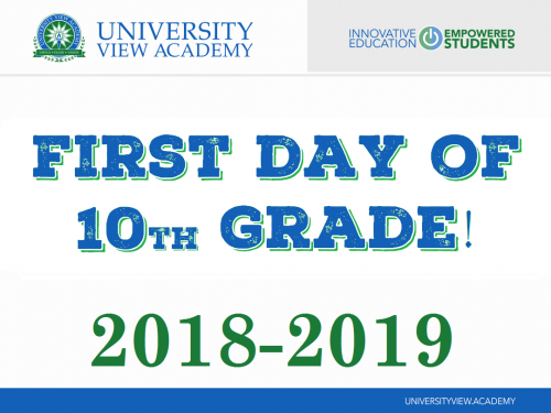 first day of 10th grade 2018-2019 sign
