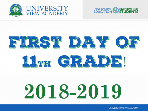 first day of 11th grade 2018-2019 sign