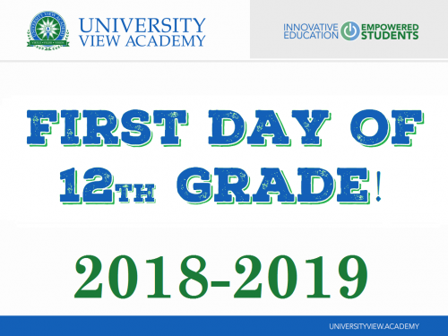 first day of 12th grade 2018-2019 sign