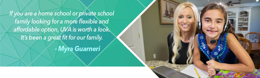 If you are a home school or private school family looking for a more flexible and affordable option, UVA is worth a look. It's been a great fit for our family. Myra Guarneri