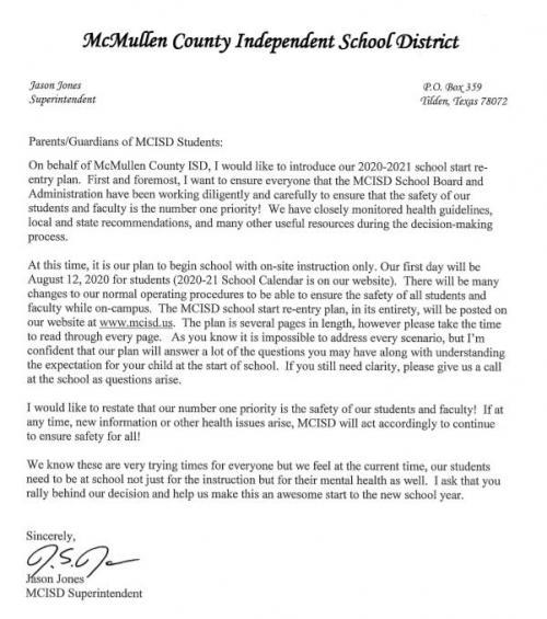 2020-2021 Start School Press Release