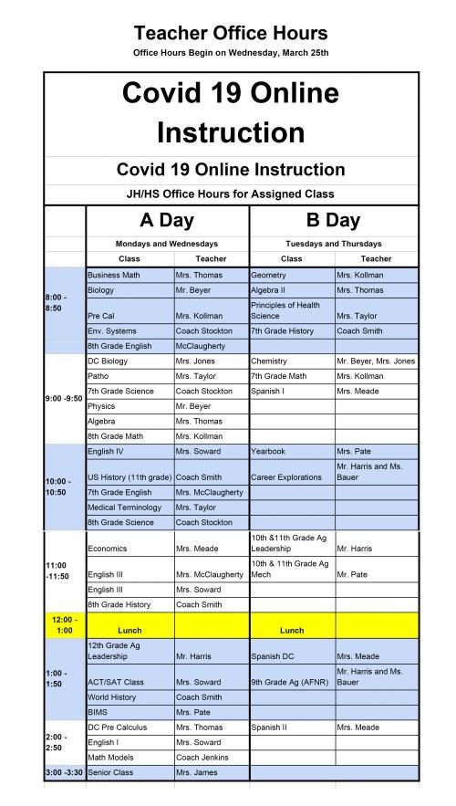 COVID 19 Class Schedule
