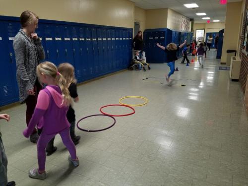 Preschool kids working on gross motor skills