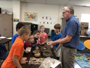 Archaeologist Tim Mulvihill, from Arkansas Archaeological Survey, visited with 3rd-6th grade Gifted and Talented Education classes.  His was a very interesting presentation, followed by some good questions from our inquisitive students.