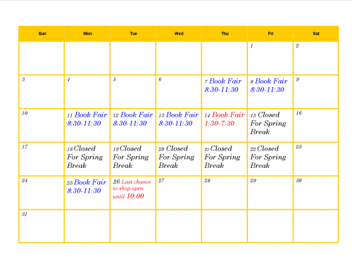 Book Fair Calendar