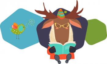 Moose reading a book