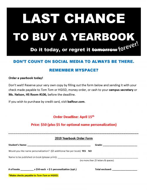 Yearbook spring flyer
