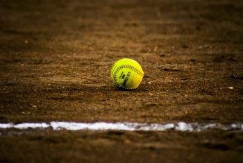 Picture of a softball on the field